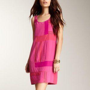 CLUNY Pink Silk Patchwork Sleeveless Shift Dress